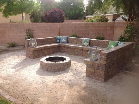 Block Fire Pit and Seating Area