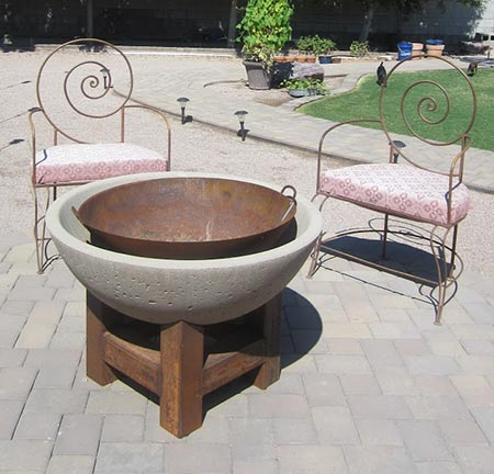 Concrete With Metal Insert Fire Pit