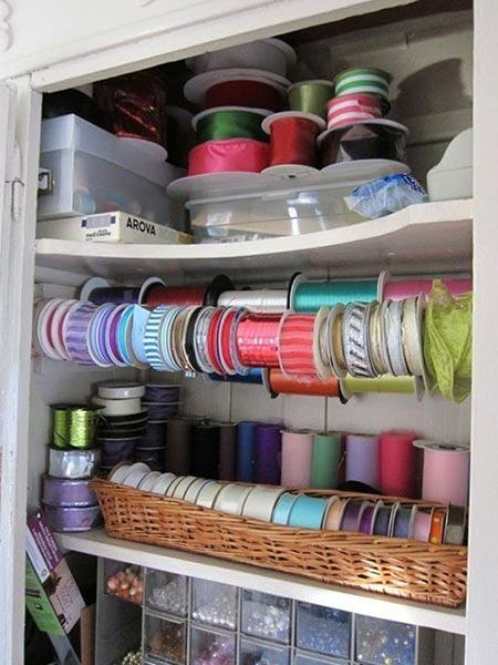MY CRAFTS CLOSET–RIBBON ORGANIZATION IDEA
