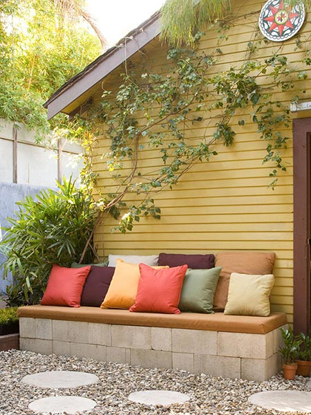 Concrete Block Garden Bench