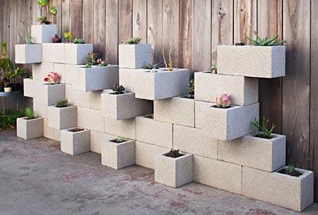 Concrete Block Vertical Planters