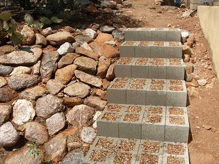 Concrete block outdoor stairs