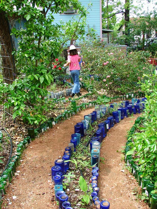 lined with recycled glass bottles