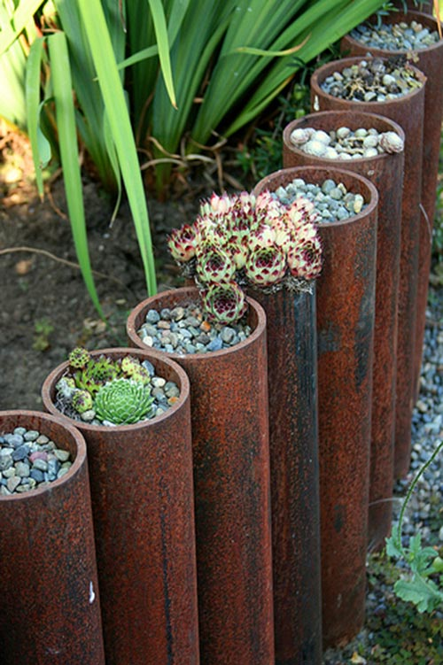 steel cylinders with plantings