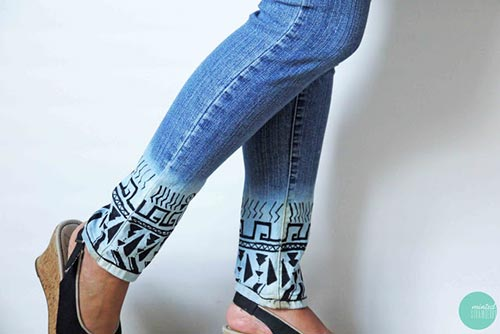 Bleach Dipped Aztec Jeans