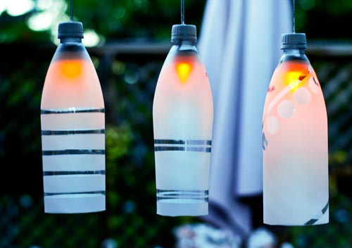 Party lights made out of recycled plastic bottles