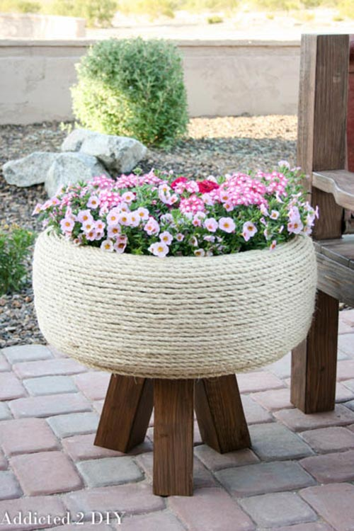 Recycled Tire Turned Gorgeous Planter
