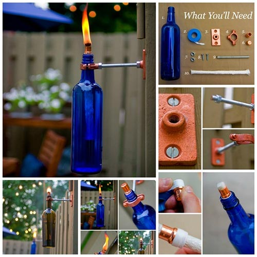 Recycled Wine Bottle Torch