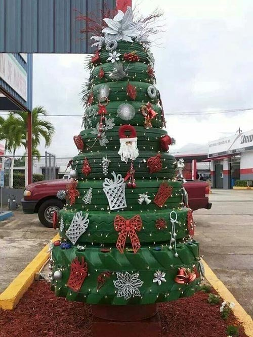 Recycled old tires...Christmas tree