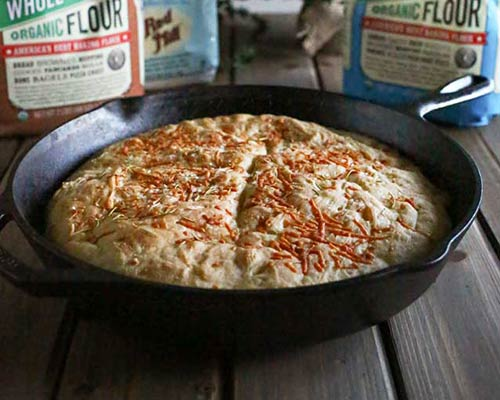 Parmesan No-knead Skillet Bread