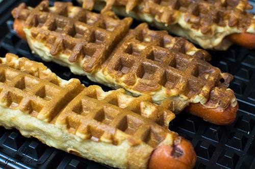 Waffle Iron Hot Dogs