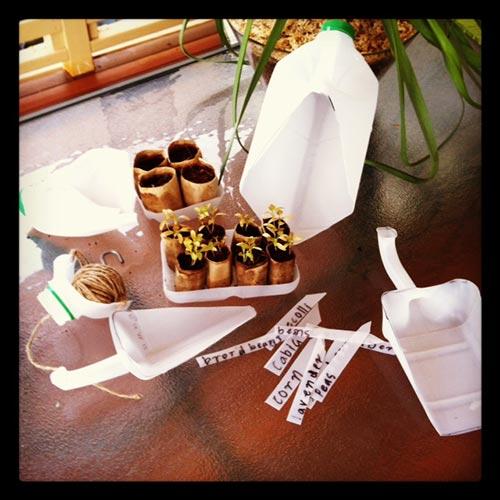 Milk Bottle Garden Tools