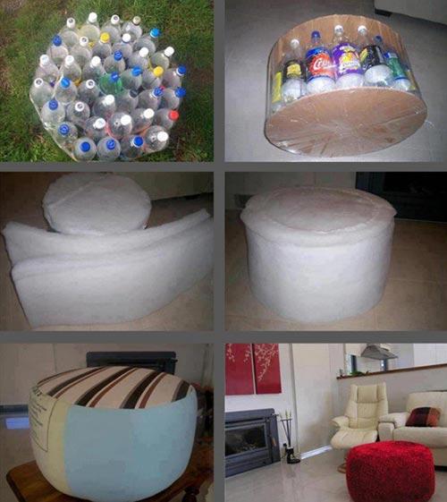 Soft Plastic Bottle Ottoman