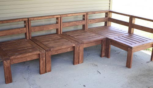 2x4 Wood Slat Outdoor Sectional