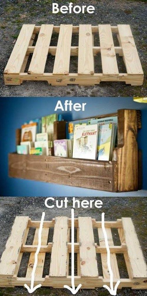 Make a pallet bookshelf