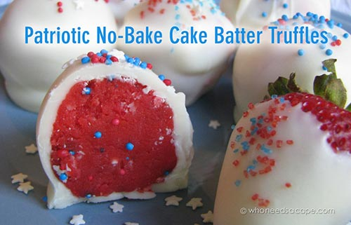 Patriotic No Bake Cake Batter Truffles