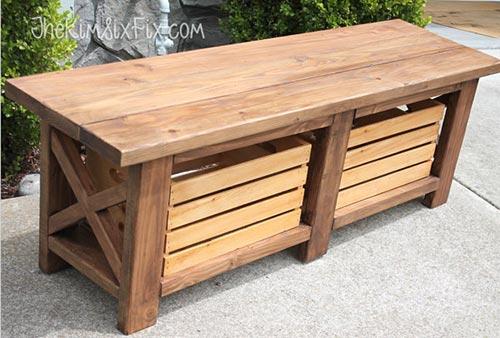 X-Leg Wooden Bench