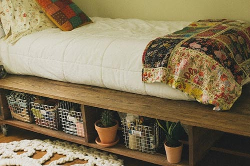 Platform Bed with Storage Baskets